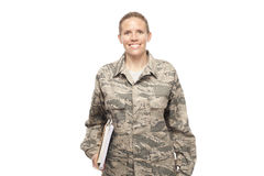 Female airman with books Stock Image