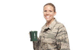 Female airman with coffee cup Royalty Free Stock Photos