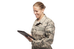 Female airman with digital tablet Stock Photo