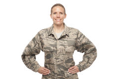 Female airman with hands on hips Royalty Free Stock Image
