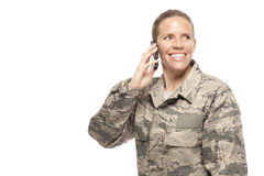 Female airman on mobile phone Stock Image