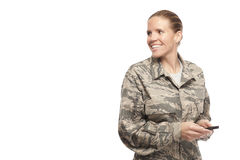 Female airman with mobile phone Stock Photo
