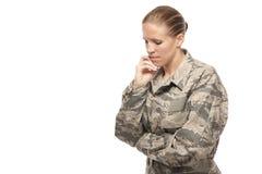 Female airman thinking Royalty Free Stock Image