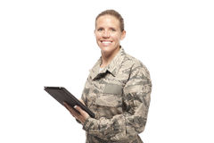 Female airman using digital tablet Stock Images