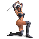 Female amazon warrior with sword and armor Stock Photography