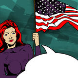 Female with American flag Stock Photography