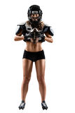 Female american football player. Isolated female american football player Stock Photos