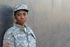 Female American Soldier - Stock image with Copy Space royalty free stock photography
