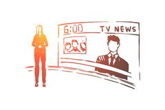 Female anchorman, newscaster profession, professional lady presenter, television show, mass media. Evening news program, tv broadcast studio concept sketch stock illustration