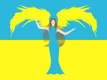 Female angel against the flag of Ukraine. Female angel in yellow and blue against the background of blue and yellow flag of Ukraine. Hand drawing vector Royalty Free Stock Images