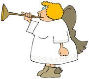 Female Angel Blowing A Brass Horn Stock Photography