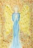 Female angel with a blue dress praying. The dabbing technique gives a soft focus effect due to the altered surface roughness of the paper Royalty Free Stock Images