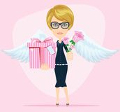 Female angel holding a bouquet of flowers and Royalty Free Stock Photo