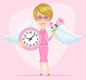 Female angel holding a pink watchs. Female angel with beautiful wings holding a pink watchs and flowers she congratulates you. Time to love and live . Stock Stock Photo