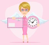 Female angel holding a pink watchs and envelope. Female angel with beautiful wings holding a pink watchs and envelope with a letter she congratulates you. Time Stock Photo