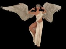 Female angel in white dress. Female angel with outspread wings in long white dress isolated on black Royalty Free Stock Images