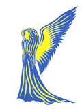 Female angel in yellow and blue symbolize the Ukra. Female angel in yellow and blue; these colors symbolize the Ukraine. Hand drawing vector illustration Royalty Free Stock Photography