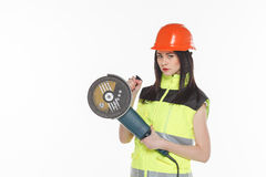 Female  with angle grinder over white  background Royalty Free Stock Photography