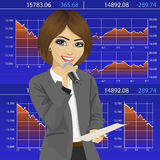 Female announcer with microphone and exchange graph chart data report Stock Photo