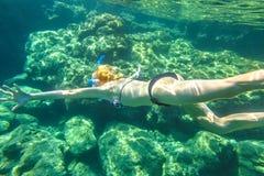 Female apnea underwater. Female apnea bikini swims in tropical sea. Underwater background of a woman snorkeling and doing skin diving. Watersport activity in Royalty Free Stock Photos