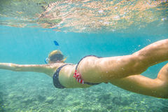 Female apnea underwater. Woman snorkeler swims in tropical sea with american flag bikini. Underwater scene of a female apnea and doing skin diving. Watersport Royalty Free Stock Images