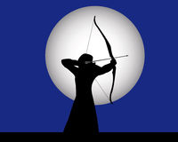 Female archer. Archery on a dark blue background Royalty Free Stock Photos