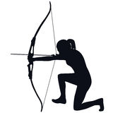 Female archer with bow and arrow. Silhouette of a female archer with bow and arrow Royalty Free Stock Photo