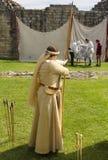 Female Archer. Medieval Display. Warkworth, Northumberland. England. UK. Female Archer at Plantagenets Medieval Society Display. Warkworth, Northumberland Royalty Free Stock Photo