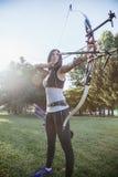 Female Archer. Training At The Range Royalty Free Stock Image