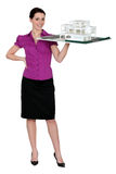 Female architect. Holding holding scale model of project Stock Image