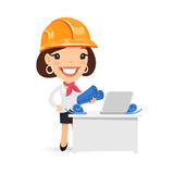 Female Architect with Blueprints Stock Image