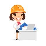 Female Architect with Blueprints Stock Image