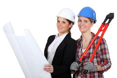 Female architect and builder Royalty Free Stock Images
