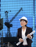Female architect and building construction project site Stock Images