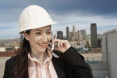 Female Architect On Call Stock Images