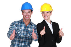 Female architect and carpenter Royalty Free Stock Images