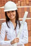 Female architect at a construction site Royalty Free Stock Photos