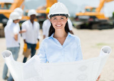 Female architect at a construction site Royalty Free Stock Photo