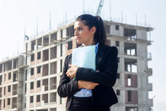 Female architect at a construction site Stock Image