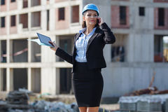 Female architect at a construction site Royalty Free Stock Image
