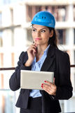 Female architect at a construction site Stock Images