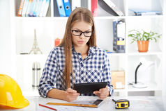 Female architect with digital tablet Stock Photos