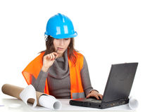Female architect or engineer Royalty Free Stock Images