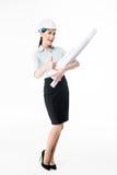 Female architect in hard hat stock image
