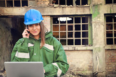 Female architect with helmet Royalty Free Stock Images