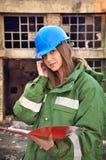 Female architect with helmet Stock Image