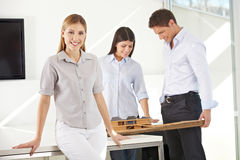 Female architect with her team Stock Images