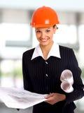 Female architect holding Royalty Free Stock Photos