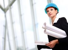 Female architect holding Stock Photos