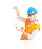 Female architect holding blueprint Stock Image